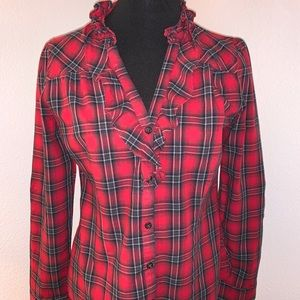 GAP Plaid Ruffle Shirt Size S